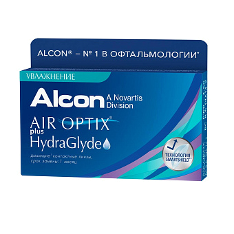 Фото Контактные линзы Air Optix plus HydraGlyde (3 шт.) 1